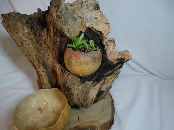 Tiesto rustico de madera kuia l mparas - Tiestos de madera ...