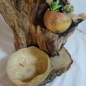 tiesto de madera artesanal