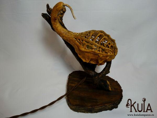 lampara de mesa rustica de madera korn